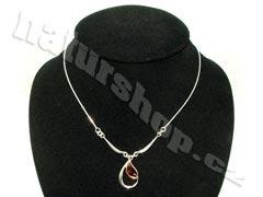 Stříbrný jantarový náhrdelník pro ženy